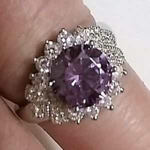 Jewelry - 3 CT Amethyst and Topaz Ring .925 size 5.75